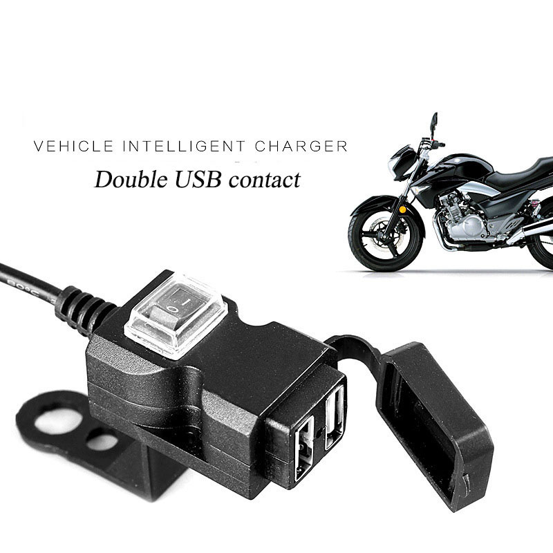 Dual USB Port Cable Adapter Waterproof USB Charger Quick 2.1A Power Supply Socket For Motorcycle Cellphone Tablet GPS