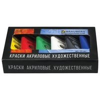 Acrylic paints BRAUBERG, ART CLASSIC 75 ml, 6 colors
