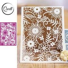Qwell цветочный фон металлические Вырубные штампы для скрапбукинга