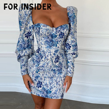 For Insider Puff sleeve floral print blue bodycon dress Women chinese style vintage short Autumn winter runway mujer