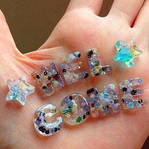 Image 4 - DIY Nhựa Dính Gummy Kèm Chữ Cái Khuôn Trang Sức Làm Dụng Cụ Với Nhựa AB Keo Dán Móc Khóa Bộ DIY quà Tặng
