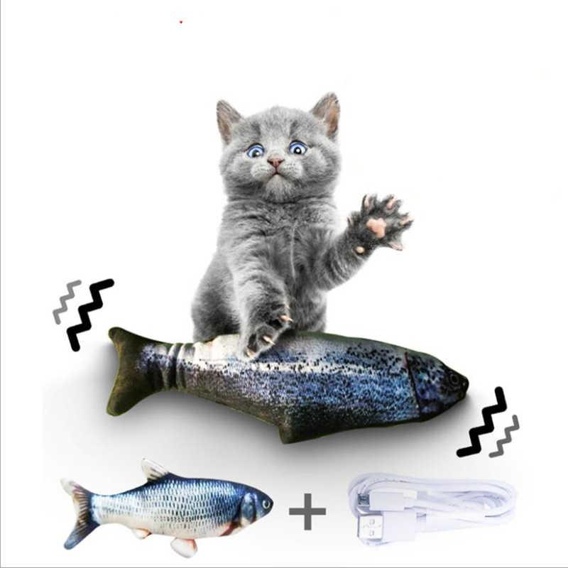 30CM 전자 애완 동물 고양이 장난감 전기 USB 충전 시뮬레이션 물고기 장난감 개 고양이 씹는 재생 물기 용품 Dropshiping