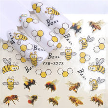 1pcs Slider Nail Sticker Cute Cartoon Bee Decals Summer Marine Life Designs For Nail Art Watermark Tattoo Decorations(China)