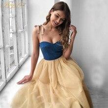 Simple Prom Dresses Sweetheart Spaghetti Straps Denim Tulle Evening Gown Tea Length Evening Dresses Plus Size Casual Vestidos