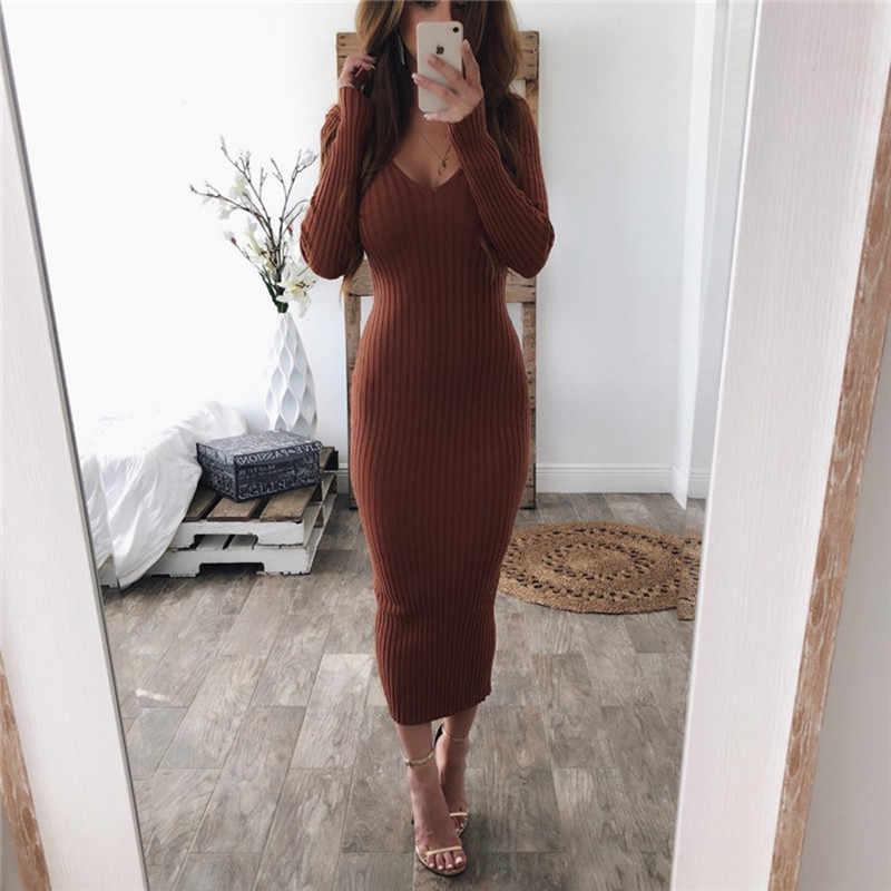 Зимнее вязаное тонкое платье-свитер с открытой спиной, женское сексуальное облегающее платье миди с открытыми плечами, Длинные вечерние платья с длинным рукавом Vestidos