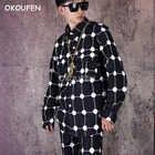 Camisa suelta de hombre hip hop red camisa personalidad de manga larga polka dot camisa de flores marea - 4