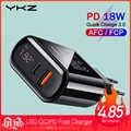 YKZ Charge rapide 3.0 USB chargeur LED affichage QC 3.0 PD Charge rapide chargeur de téléphone portable pour iPhone Xiaomi Samsung Huawei
