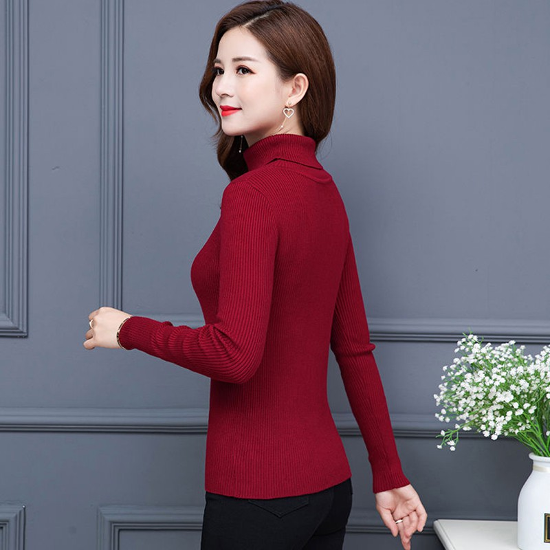 Wholesale Autumn Fall Women Sweater Slim Soft Long Sleeve High Neck Knit Pullover Sexy Slim Stretch Turtleneck Black Sweaters 5