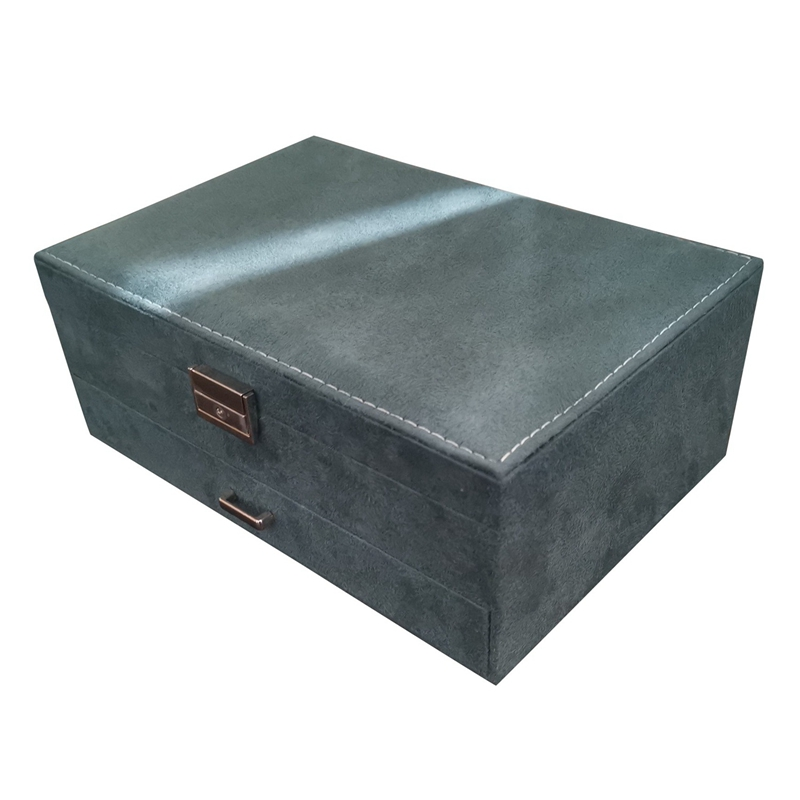 European Style Double Layer Large Capacity Elegant Flannel Jewelry Box With Lock Fashion Leader Velvet Jewelry Box