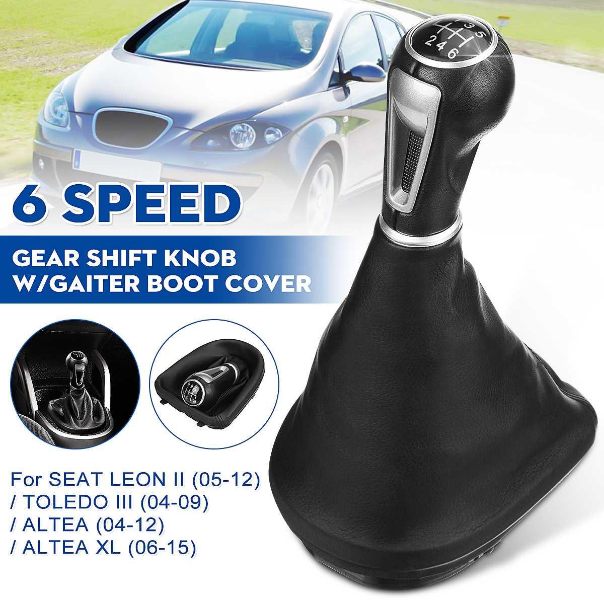 5/6 Speed Gear Shift Knob Lever Shifter Handle Stick W/Gaiter Boot Cover For Seat Leon II/Toledo III Altea XL