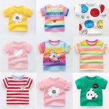 Unisex Baby Summer T Shirt Cartoon Printed Flower Rainbow Tops Tees Kids Children Casual Clothing Cotton T-shirt For Girls Boys