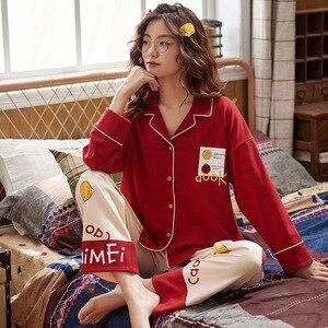Image 4 - セクシーなパジャマセットの女性のパジャマ綿春冬長袖ホームウェアpijamasパジャマ女性ソフトかわいいブルーナイトウェア