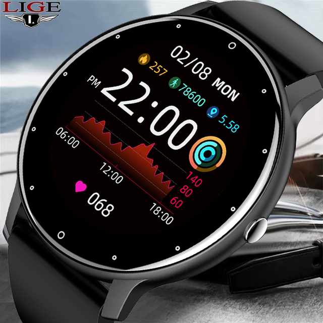 LIGE New 2021 Full touch Female Digital watch waterproof Sports suitable for Android IOS multifunction Electronic watch male+Box 1