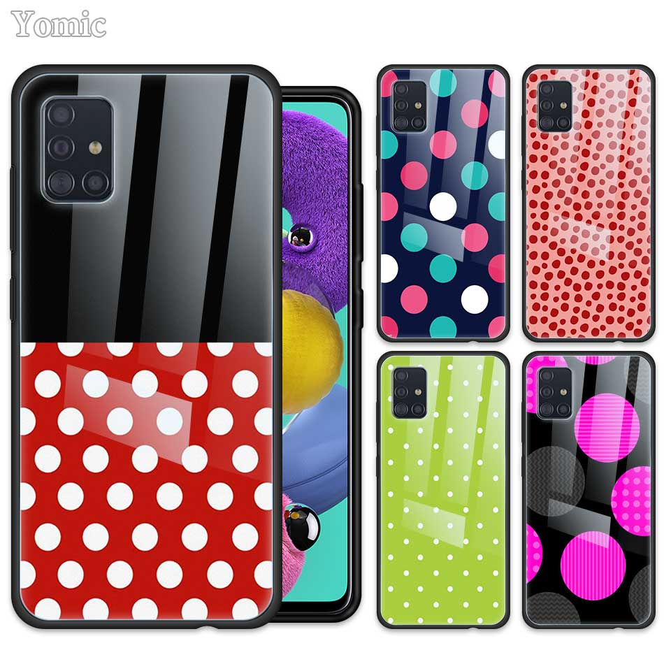 <font><b>Glass</b></font> <font><b>Case</b></font> for <font><b>Samsung</b></font> Galaxy <font><b>A50</b></font> A51 A70 A71 5G A01 A10 A11 A20 A21 A30 A31 A40 A41 M51 M31 Cover Creative Design Polka Dot image