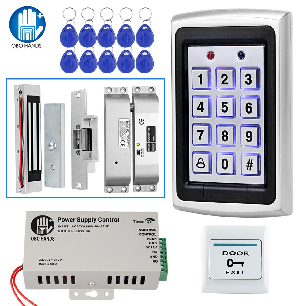 Full RFID Access Control System Kit Standalone Metal Keypad Electronic Lock Power Supply DC12V Door Exit With 125KHz ID Keyfobs