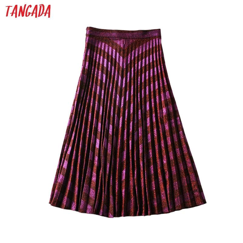Tangada Women Red Golden Yarn Pleated Midi Skirt 2020 Spring Fashion Side Zipper Ladies Elegant Chic Mid Calf Skirts 6A100