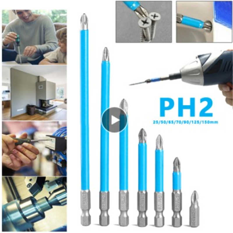 10Pz PH2 50mm Punti di Trivello del Cacciavite Elettrico Antiscivolo Magnetico Esagonale 1//4 di Acciaio in Lega a Croce Set Antiscivolo