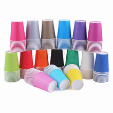 10PCS Pure Colour Party Disposable Paper Cups Juice Cup 9 oz. DIY Decoration Baby Shower Kids Birthday Wedding Picnic Tableware