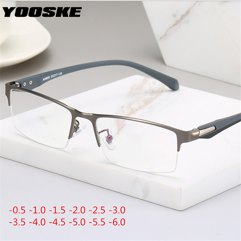 YOOSKE Myopia Glasses Frame Women Men Metal Student Finished Short-sighted Eyewear -1 -1.5 -2 -2.5 -3 -3.5 -4 -5 -5.5 -6