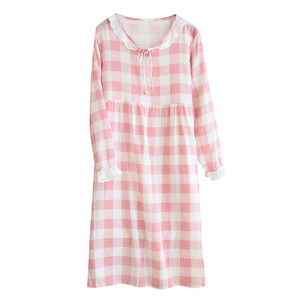 Image 5 - Womens New Double Layer Gauze Nightdress Spring Long Sleeve Simple Plaid Nightgown Plus Size Sleepwear Cotton Sleeping Dress
