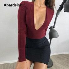 Abardsion Long Sleeve Bodysuit Women Sexy Low Cut Deep V Neck Body Woman Top 201
