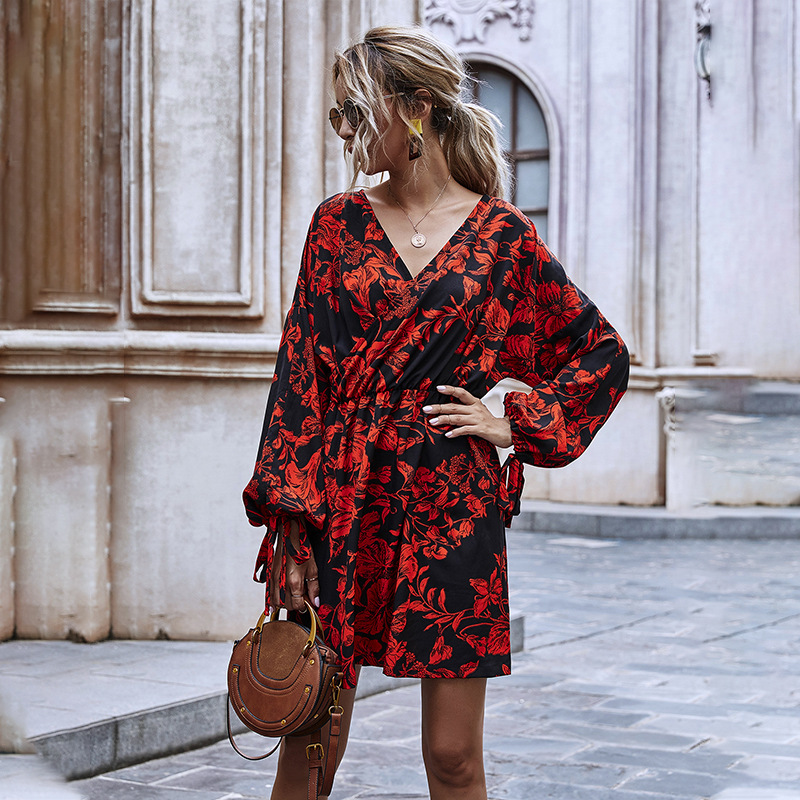 Autumn Winter Ladies Puff Sleeve Ruffle High Wasit Floral Print Dress Women 2021 New V-neck Lace Up Full Sleeve A-line Dress