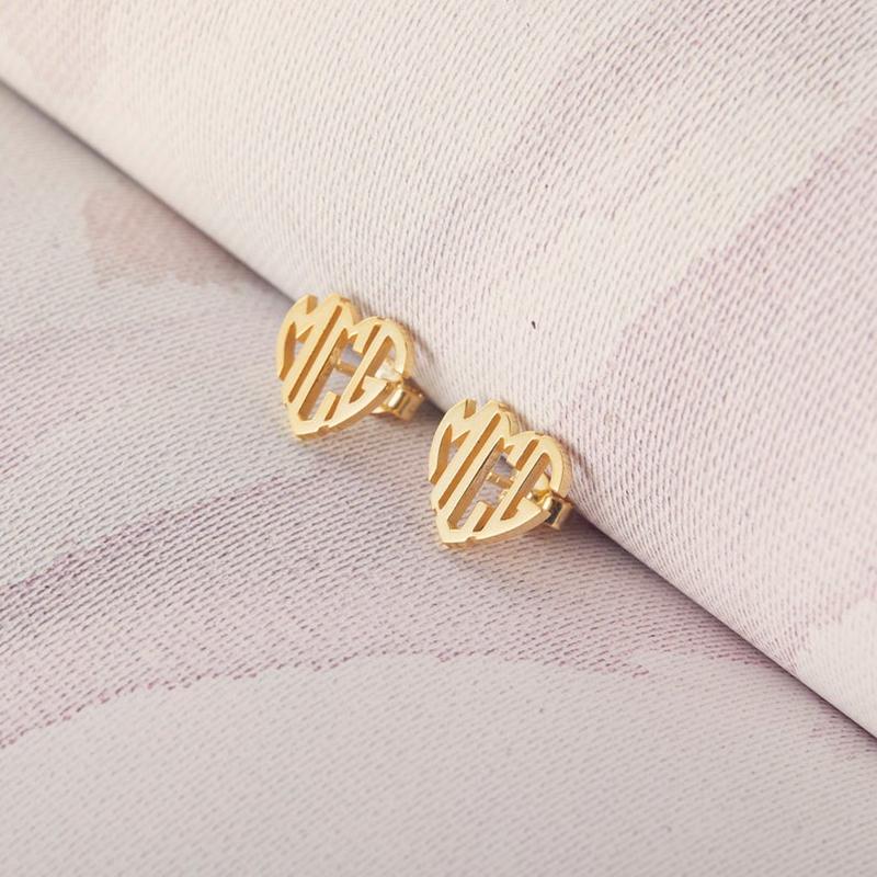 Tiny Personalized Heart Monogram Earrings For Women Girls Rose Gold Initials Letters Stud Earring Custom Jewelry Birthday Gifts