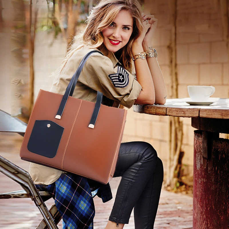 Ретро однотонные Цвет PU кожаные сумки на плечо сумки 2 шт./компл. композитный сумки для женщин высокое качество женские сумки Tote Bolsa