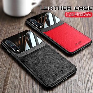leather plexiglass case for huawei nova 5t p20 p30 p40 lit pro y9 prime p smart z 2019 honor 20s 10i 10 20 lite light 9x 8x case(China)