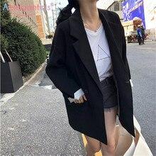 Aelegantmis Повседневный свободный Женский блейзер, куртки, деловой костюм, пальто, винтажный двубортный офисный Женский Длинный блейзер, Осенние