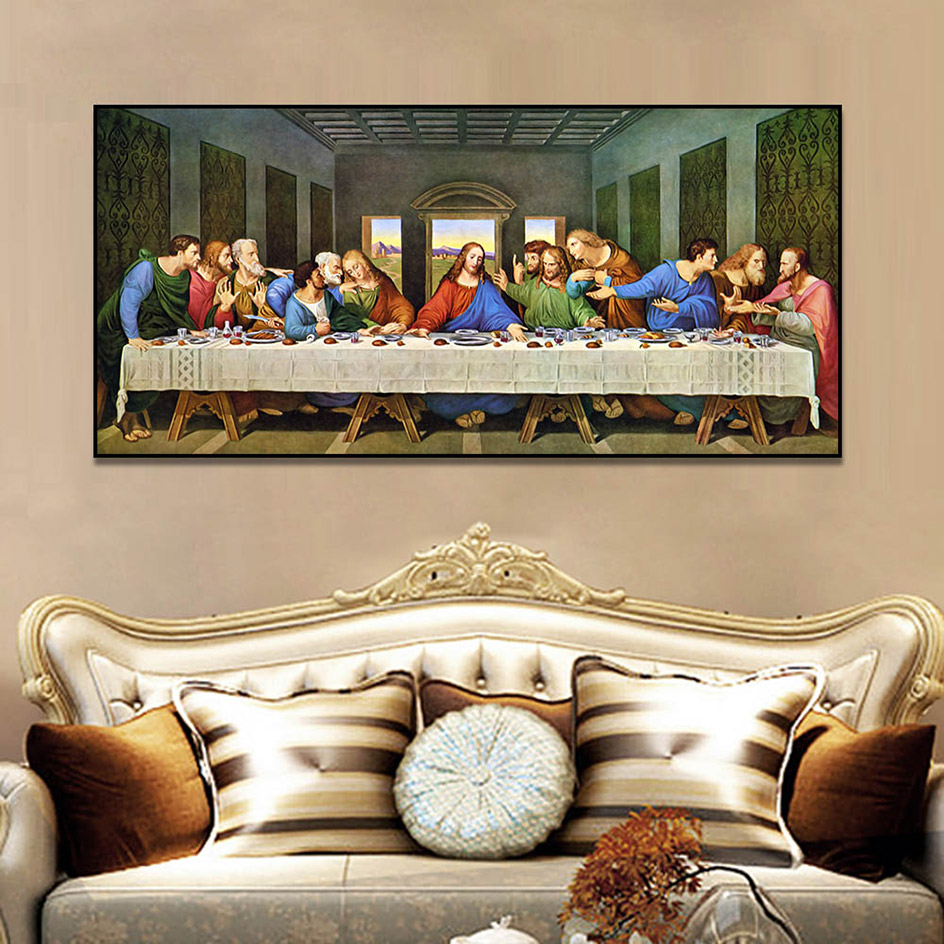 Leonardo Da Vinci Last Supper Christian Posters And Prints Wall Pictures For Living Room Wall Art Decoration Canvas Painting