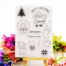 Merry Christmas Clear Stamps DIY Silicone Transparent Scrapbooking Embossing Photo Album Decorative Paper Card Craft  Handmade merry christmas tree sticker painting stencils for diy scrapbooking stamps home decor paper card template decoration album craft