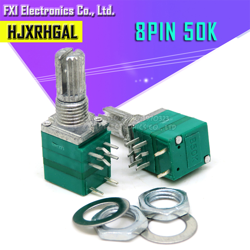 5pcs RV097NS 50K Single Linked Potentiometer B50K With A Switch Audio 8pin Shaft 15mm  Amplifier Sealing Potentiometer