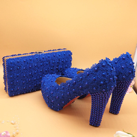 Love Moments Royal blue Flower Beads wedding shoes with matching bags Galosh Para Dress shoes woman high heels platform shoes