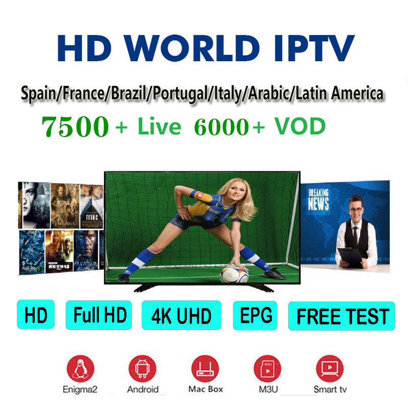 World IPTV 1 Year Iptv Subscription Europe Iptv Portugal Spain  Italy USA Dutch Iptv M3u For Smart TV Android Box H96 Mini
