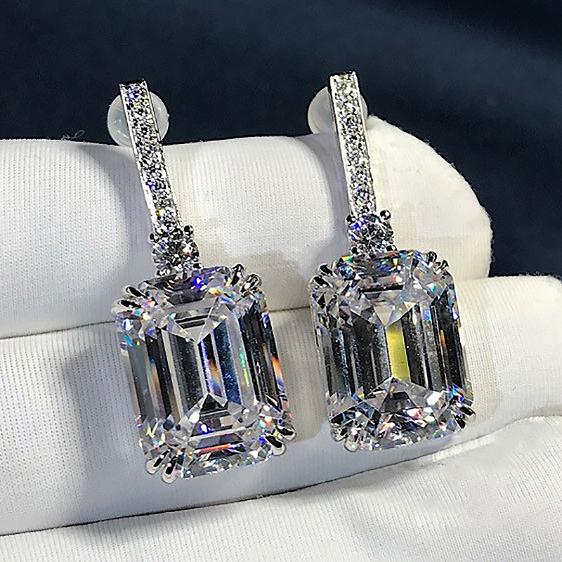 Luxury Emerald Cut 3ct Lab Diamond Dangle Earring Real 925 Sterling Silver Jewelry Party Wedding Drop Earrings For Women Bridal