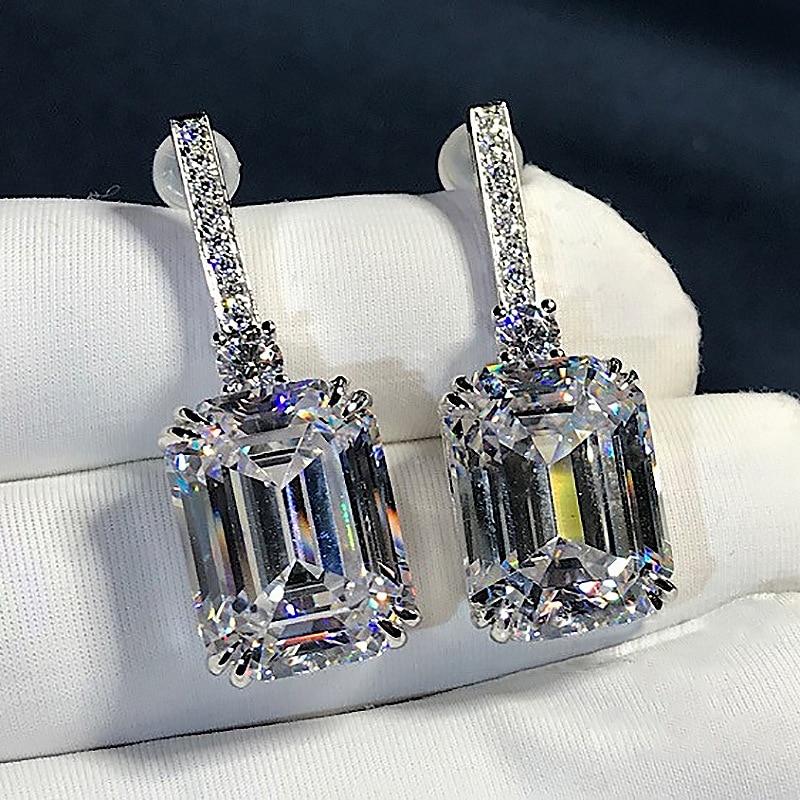 Luxury Emerald Cut 3ct Lab Diamond Dangle Earring Real 925 Sterling Silver Jewelry Party Wedding Drop Earrings For Women Bridal