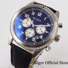 цена на BLIGER Quartz 45mm Men Wristwatch Chronograph Date Function Leather Band 24 Hours