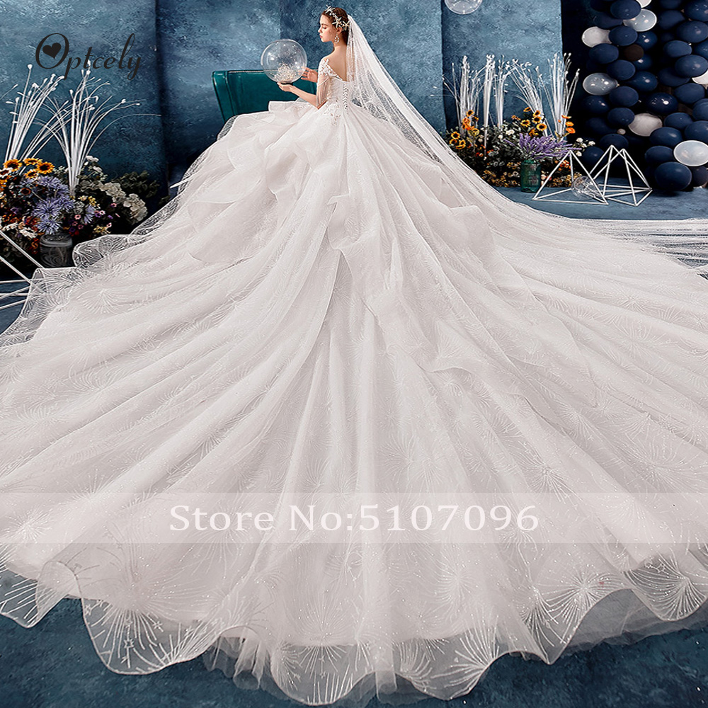 Image 4 - Optcely Fascinating O Neck Ball Gown Cap Sleeve Retro Wedding Dresses 2019 Lace Appliques Beading Long Train Gown Robe De SoireeWedding Dresses   -