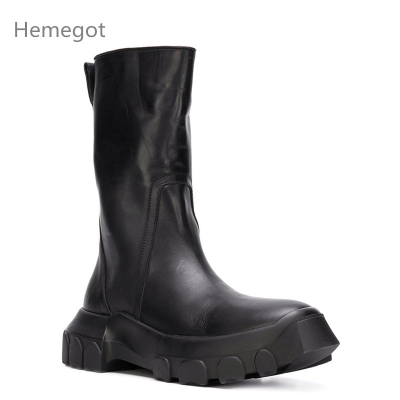 Motorcycle Boots Leather Shoes Men Ankle Botas Hombre Work Bota Masculina Fashion Zapatos De Hombre High Top Chaussure Homme