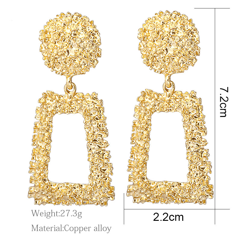 H1140d1e953ce43858f15f98d2132316fG - Hot Women Earrings Gold Drop Earrings For Women Statement Big Geometric Hanging Dangle Earring Brincos Vintage Jewelry