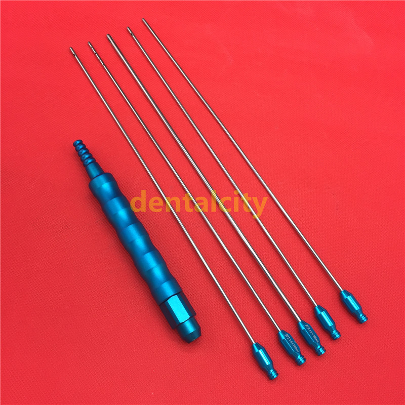 New Liposuction Cannulas Set of 5 pieces with Handle tools Beauty equipment