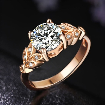 1PC Hot Crystal Leaf Engagement Ring