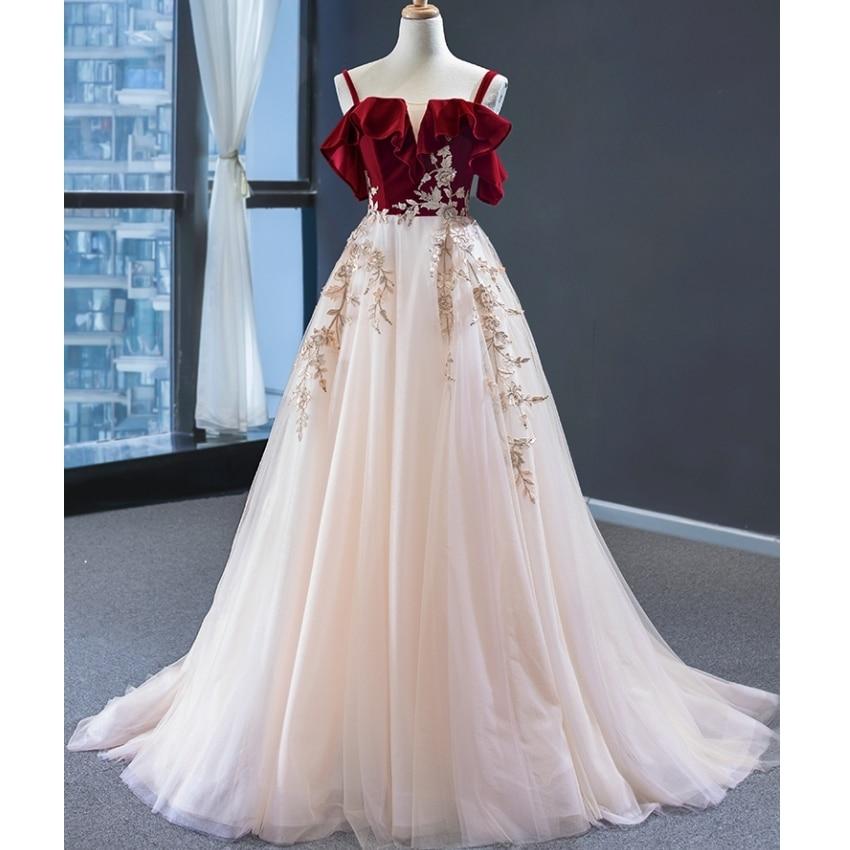 Red Champagne Lace Wedding Dresses Spaghetti Vestidos De Novia Burgundy Velvet Appliques Bridal Gown 2021