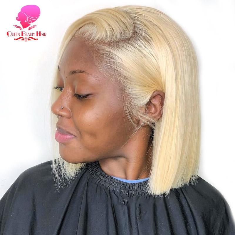 Perruque Lace Front wig Remy brésilienne lisse courte-Queen, perruque naturelle, blond ombré 613, 13x1, 6 à 16 pouces, pour femmes