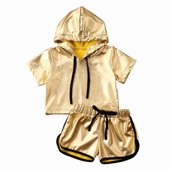 2020 Toddler Infant Baby Girl Kids Summer Clothes Set Hooded Short Sleeve Gold T-shirt Tops Shorts Outfits Clothing 2PCs baby child girls kids clothing bow knot flower sleeveless vest t shirt tops ves shorts pants outfit girl clothes set 2pcs infant page 4 page 5