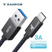 RAMPOW USB type C Câble pour Samsung Galaxy S9/S8, QC3.0 Charge Rapide USB C Câble 5gbps Fast Sync USB C pu pour Huawei P20