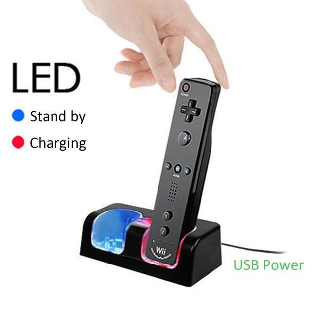 Pour Nintend WII télécommande chargeur Station daccueil de charge + 2 Batteries accessoires de jeu