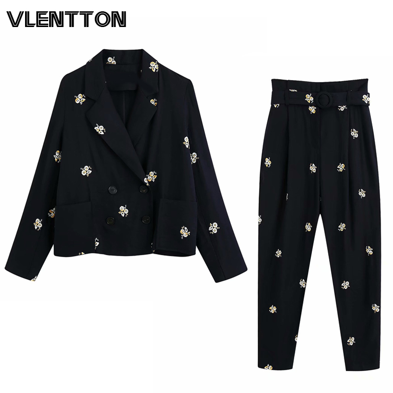 2020 Spring Autumn Black Vintage Embroidery Pants Suit Women's Office Short Blazer Jacket Tops+With Belt Trousers Two Set Female