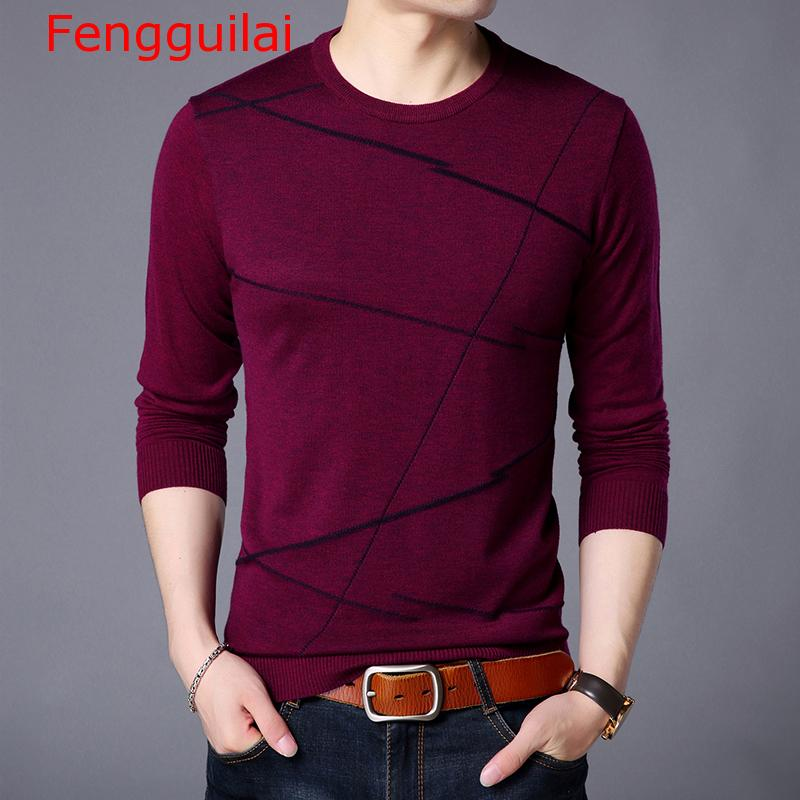 Fengguilai 2019 Fashion Brand Sweater For Men Pullover Woolen Slim Fit Jumpers Knitting Pattern Autumn Casual Clothing Men